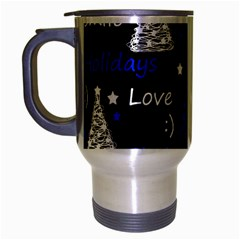 New Year Pattern   Blue Travel Mug (silver Gray) by Valentinaart