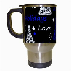 New Year Pattern   Blue Travel Mugs (white) by Valentinaart