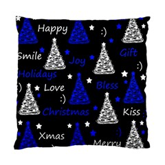 New Year Pattern   Blue Standard Cushion Case (one Side) by Valentinaart