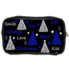 New Year Pattern   Blue Toiletries Bags 2 Side by Valentinaart