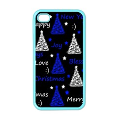 New Year Pattern   Blue Apple Iphone 4 Case (color) by Valentinaart