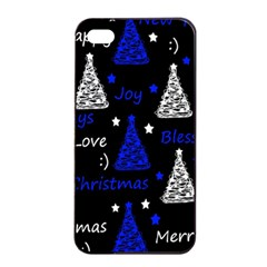 New Year Pattern   Blue Apple Iphone 4/4s Seamless Case (black) by Valentinaart