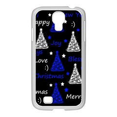 New Year Pattern   Blue Samsung Galaxy S4 I9500/ I9505 Case (white) by Valentinaart