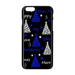 New Year Pattern   Blue Apple Iphone 6/6s Black Enamel Case by Valentinaart