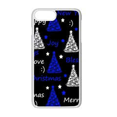 New Year Pattern   Blue Apple Iphone 7 Plus White Seamless Case by Valentinaart