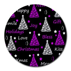 New Year Pattern   Purple Round Mousepads by Valentinaart