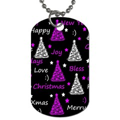 New Year Pattern   Purple Dog Tag (one Side) by Valentinaart