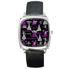 New Year Pattern   Purple Square Metal Watch by Valentinaart
