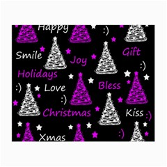 New Year Pattern   Purple Small Glasses Cloth by Valentinaart