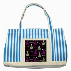 New Year Pattern   Purple Striped Blue Tote Bag by Valentinaart