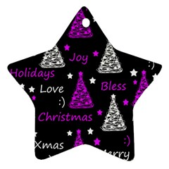 New Year Pattern   Purple Star Ornament (two Sides)  by Valentinaart
