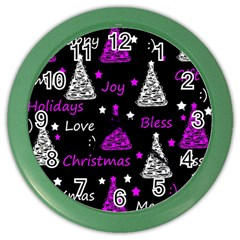 New Year Pattern   Purple Color Wall Clocks by Valentinaart