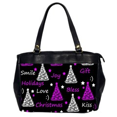 New Year Pattern   Purple Office Handbags (2 Sides)  by Valentinaart