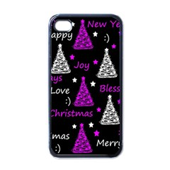 New Year Pattern   Purple Apple Iphone 4 Case (black) by Valentinaart
