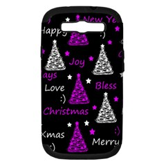 New Year Pattern   Purple Samsung Galaxy S Iii Hardshell Case (pc+silicone)