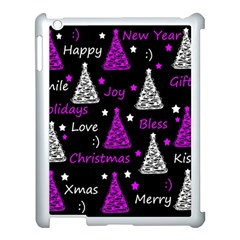 New Year Pattern   Purple Apple Ipad 3/4 Case (white) by Valentinaart