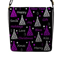 New Year Pattern   Purple Flap Messenger Bag (l)  by Valentinaart