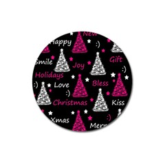 New Year Pattern   Magenta Magnet 3  (round) by Valentinaart