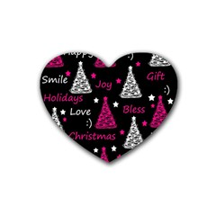 New Year Pattern   Magenta Rubber Coaster (heart)  by Valentinaart