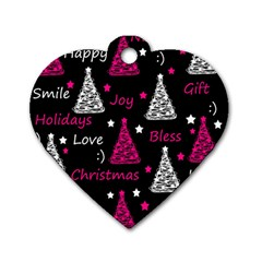 New Year Pattern   Magenta Dog Tag Heart (one Side) by Valentinaart