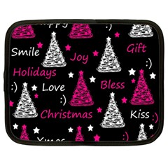 New Year Pattern   Magenta Netbook Case (large)