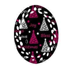 New Year Pattern   Magenta Oval Filigree Ornament (2 Side)  by Valentinaart