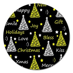 New Year Pattern   Yellow Magnet 5  (round) by Valentinaart