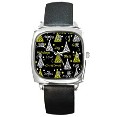 New Year Pattern   Yellow Square Metal Watch by Valentinaart