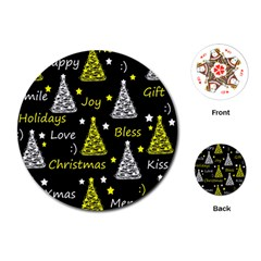 New Year Pattern   Yellow Playing Cards (round)  by Valentinaart