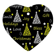 New Year Pattern   Yellow Heart Ornament (2 Sides) by Valentinaart