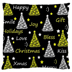 New Year Pattern   Yellow Large Cushion Case (two Sides) by Valentinaart