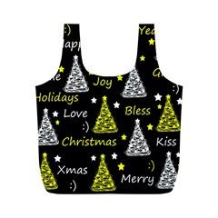 New Year Pattern   Yellow Full Print Recycle Bags (m)  by Valentinaart