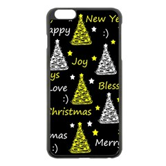 New Year Pattern   Yellow Apple Iphone 6 Plus/6s Plus Black Enamel Case by Valentinaart