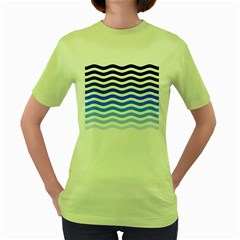 Water White Blue Line Women s Green T Shirt