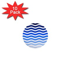 Water White Blue Line 1  Mini Buttons (10 Pack)  by AnjaniArt