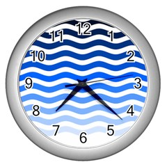 Water White Blue Line Wall Clocks (silver)  by AnjaniArt