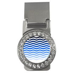 Water White Blue Line Money Clips (cz)