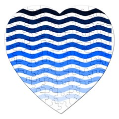 Water White Blue Line Jigsaw Puzzle (heart)