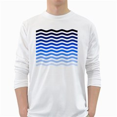 Water White Blue Line White Long Sleeve T Shirts