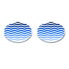 Water White Blue Line Cufflinks (oval)