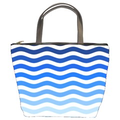 Water White Blue Line Bucket Bags by AnjaniArt