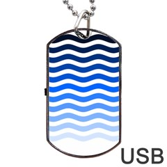 Water White Blue Line Dog Tag Usb Flash (two Sides)