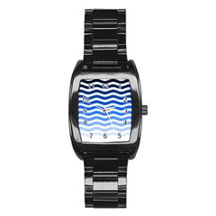 Water White Blue Line Stainless Steel Barrel Watch by AnjaniArt