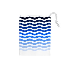 Water White Blue Line Drawstring Pouches (small)  by AnjaniArt