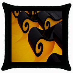 Black Yellow Throw Pillow Case (black) by AnjaniArt