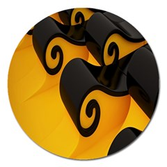 Black Yellow Magnet 5  (round) by AnjaniArt