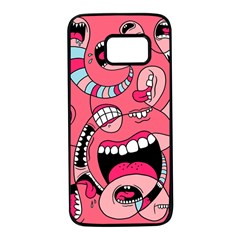 Big Mouth Worm Samsung Galaxy S7 Black Seamless Case by AnjaniArt