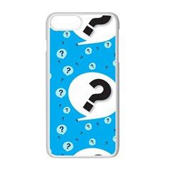 Blue Question Mark Apple Iphone 7 Plus White Seamless Case by AnjaniArt