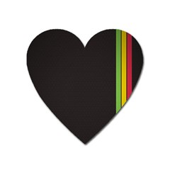 Brown White Stripes Green Yellow Pink Heart Magnet