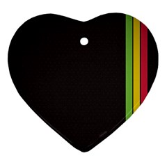 Brown White Stripes Green Yellow Pink Heart Ornament (2 Sides) by AnjaniArt